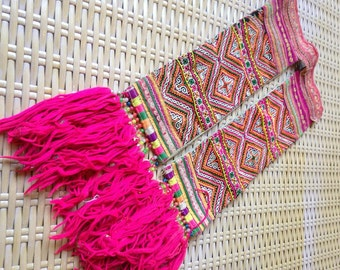 Vintage Hmong Ethnic Handmade embroidery straps delicate cross Stitch Hilltribe craft supplies