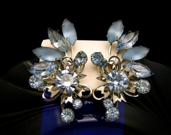 Fabulous Vintage Rhinestone Earrings Swedge Spray Blue Frosted Glass Silver Tone