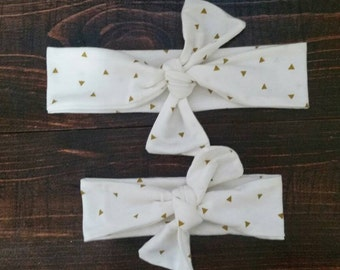 Triangle Mommy and Me Headband – Matching Mommy Baby - Top Knot Headband Set - Mom and Baby Girl Headband - Matching Headband Set - Knotted