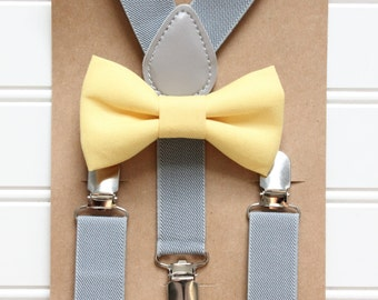 Bowtie and Suspenders Set/Lemon Bowtie/Gray Suspenders/Baby and Toddler Bowties/Birthday and Wedding Sets