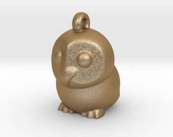Matte Gold Owl Pendant Owl Charm  Animal jewellery