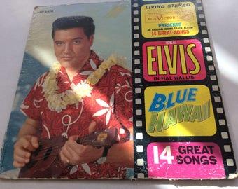 Vintage vinyl record. Elvis in blue hawaii by hal wallis.
