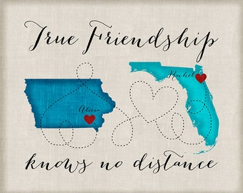 Long Distance Best Friend Gift, Friendship Quotes, Customized With Two Maps, States, Countries, Continent, Travel Friends | WF233