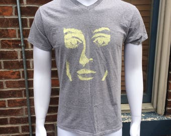 Hand-printed Lady Tee T-shirt Gray Medium