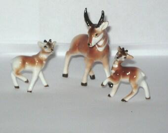 Japan Miniature Bone China 3 Lot Pronghorn Deer Family Animal Figurine Antelope