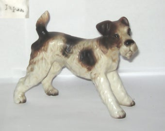 Japan Wire Fox Terrier Dog Animal Figurine Brown and White Standing