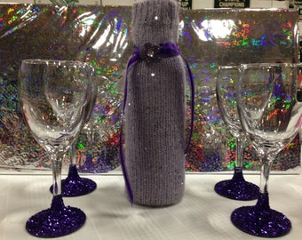 Fancy purple wine set