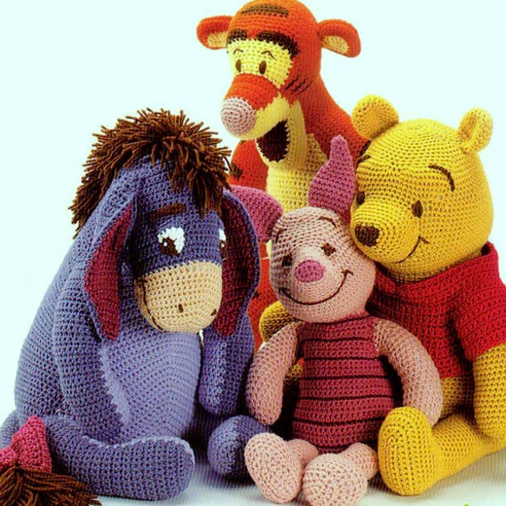 Vintage Crochet Pattern Winnie the Pooh Tigger Piglet and