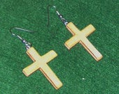 Wooden Cross Earrings  Handmade and Shellacked, Religious Crucifix , Silver French Wires
