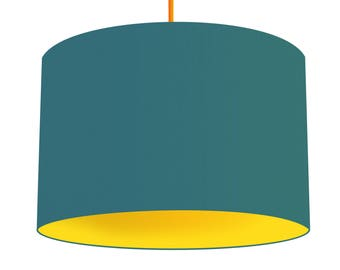 Teal Blue Linen Fabric Drum Lampshade, Contrasting Citrus Yellow Cotton Lining, Small Lampshade 20cm - Large Lampshade 40cm or Custom Size