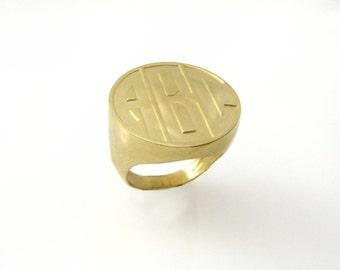 Monogram ring.college ring.Gold monogram ring. Men ring. Initial ring. Gift for him. Gold signet ring. Personalized ring. Men initial ring.