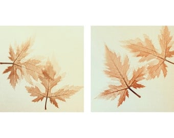 Set of 2 Neutral wall art decor Fine art photography Mint Beige photography print Autumn Dry Leaves Square print Pastel color Leaves picture