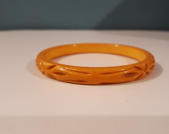 Vintage bakelite/ carved bakelite/ bakelite bracelet/ochre