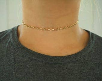 14k Gold Geo Chain Dainty Choker Necklace