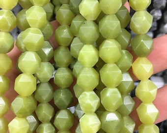 Natural lemon quartz beads, green nugget beads, faceted beads, loose gemstone beads wholesale, 8mm 10mm 12mm