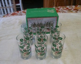 indiana glass 6 pc holiday beverage set 12 oz glasses in box