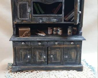 Dollhouse furniture. Dollhouse Hutch. Dollhouse. Miniature Hutch. Miniature dresser. Miniature furniture. Dollhouse Furnishings. Diorama.