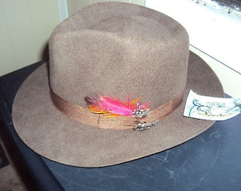 Montecarlo Hat Co Run A Muck AVALON Small Brown Felt Fedora New With Tags But Old Stock