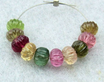 Exquisite Natural Tourmaline Hand Carved Melon Rondelle Gemstone Beads (0760)