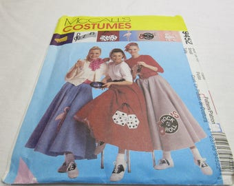 McCalls PATTERN 50s Poodle Skirts Costumes Dice Vinyl 9452 Sz 8