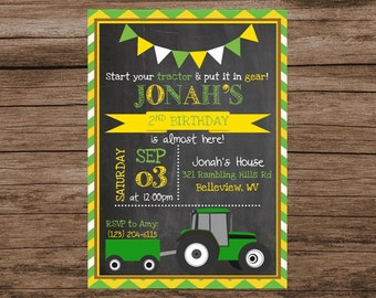 Tractor Birthday Invitation, Start Your Tractor, Get in Gear, John Deere Birthday, Tractor Birthday, Digital Birthday Invitation