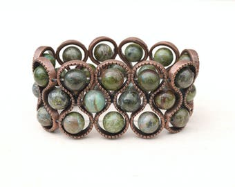 Copper cuff, Dark green bracelet, Copper bracelet, Green cuff, Olive green cuff, Stretch cuff, Beaded cuff, Gift for her, Copper beaded cuff