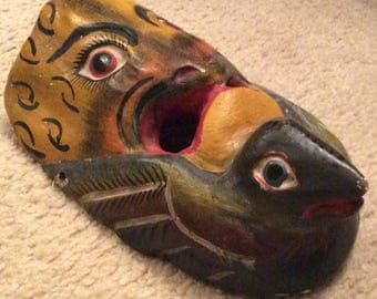 Mask, Tiger Mask,Wood Carved Mask, Mexican Dance Mask, Hand Carved Wood Mask, Face With Bird Cupping the Chin, Hand Painted Mask