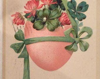 Easter Postcard, Vintage Postcard, TC of Colorado, Coral Dyed Egg Filled With Bouquet of Clover, Tied with Green Ribbon, Mixed Media