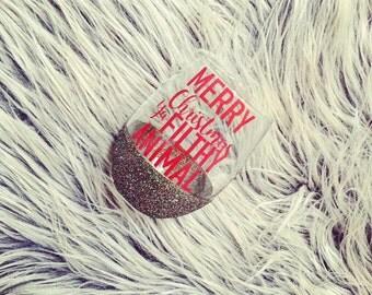 Merry Christmas Ya Filthy Animal Wine glass