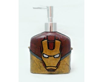Iron man Soap Dispenser, mixed media and polymer clay soap pump