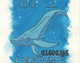 I Whale Always Love you Blank Greeting Card / Valentine's Day Card