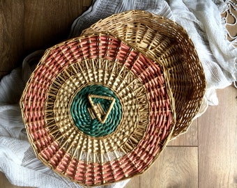 Large Wicker Rattan Basket with Pink and Turquoise Lid / Storage Basket