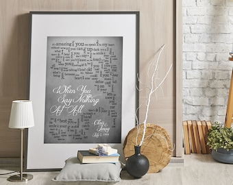 First Anniversary Gift - Custom Wedding Gift For Newlyweds Husband Wife Bride: When You Say Nothing At All Personalized names, date