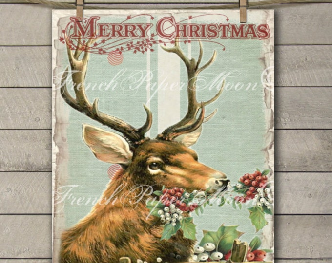 Digital Christmas Reindeer, Reindeer with Holly, Vintage Christmas Digital Art, Instant Download, Christmas Pillow Transfer Image