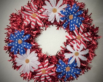 Red, White and blue flower wreath