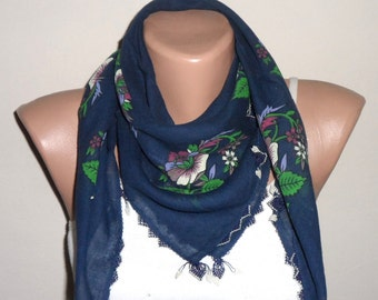 blue scarf navy blue cotton scarf turkish yemeni needle lace scarf woman scarf fashion oya scarf scarf gift for her