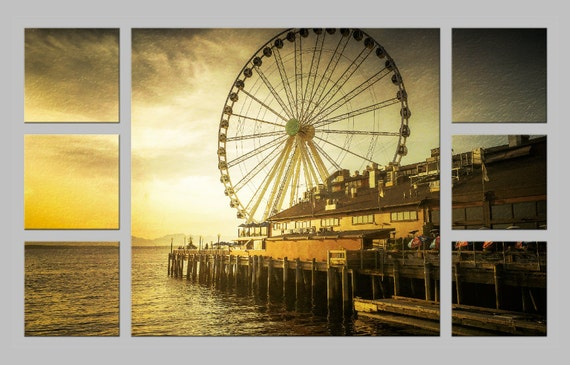 Seattle Waterfront Ferris Wheel at Sunset. Ivar's Restaurant. Travel Photography. Shabby Chic Wall Decor. Metal Prints. FREE SHIPPING.
