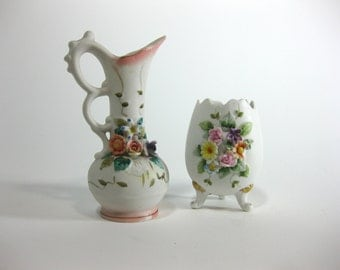 Collectibles Lefton China Egg and Vase with Spring Floral Spray ~ Hand Painted ~ KW 4342