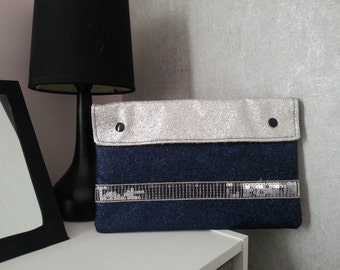 Cover of night scope - hand - faux leather and cotton lining - stripes sequins - night blue and silver