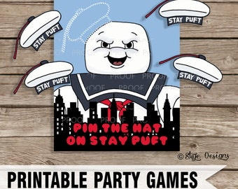 """Ghostbusters Themed """"Pin the Hat on Stay Puft"""" Party Game Printable [INSTANT DOWNLOAD]"""