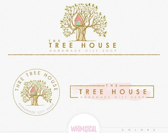 Whimsical Elegnat Treehouse -Premade Photography Logo and Watermark, Classic Elegant Script Font GOLD GLITTER TREE children Calligraphy Logo