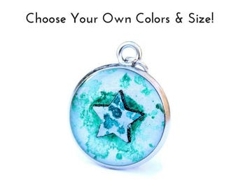 Tiny Star necklace charm, custom made star pendant, colorful star charm with your choice of colors, made to order colorburst small lavalier