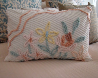 """SALE-One Cream Chenille Lumbar Pillow Cover With Flowers for 16"""" x 24"""" Pillow Insert Was 30.00 Now 25.00"""
