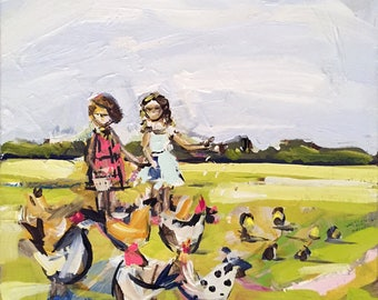 Feeding Chickens Print, figurative, two girls, canvas or paper