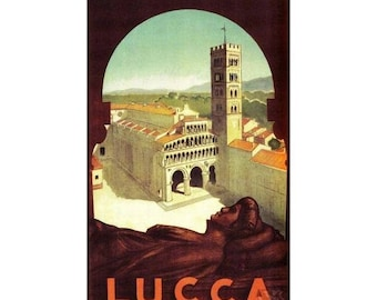 Lucca Italy 1952 Vintage Poster Print Italian Travel Tourism Art Free US Post Low EU Post