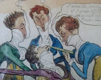 Original FRAMED 1835 Antique GEORGIAN Satirical Print / Etching by Cruikshank. A Dandy Fainting at the Opera