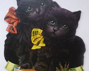 Genuine 1950s Scottish Cardboard Wall Calendar: Featuring Two Lucky Black Cats with Tartan Bows