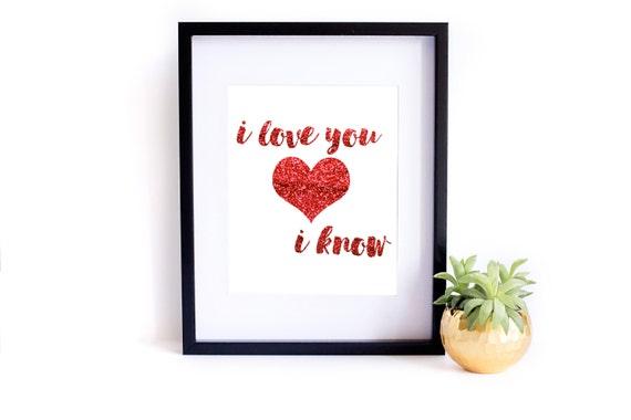 Star Wars Valentine Print, Star Wars Quote, Valentine Art, Valentine Print, INSTANT DOWNLOAD