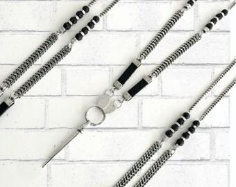 Long silver spike pendant, black leather silver necklace, silver black rock necklace, lava stone beads necklace, long silver chain necklace.