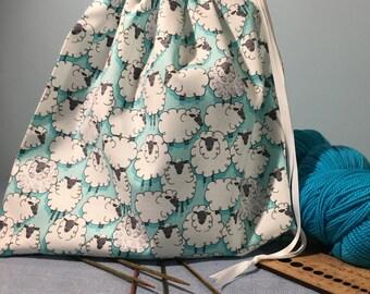 Sheep Print - Sock Size Knitting Project Bag